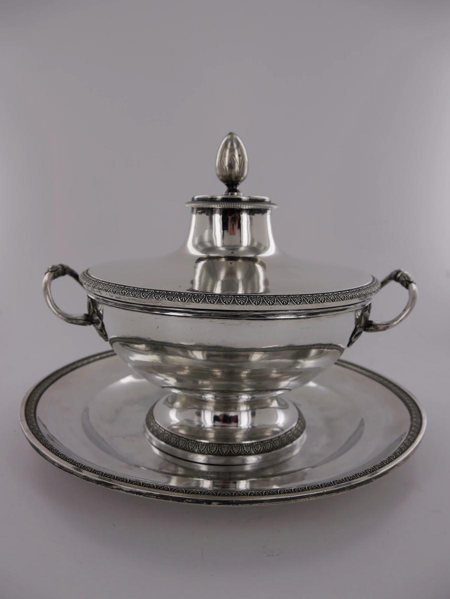 Bouillon Avec Son Présentoir, d'époque Empire, Début XIXe Siècle