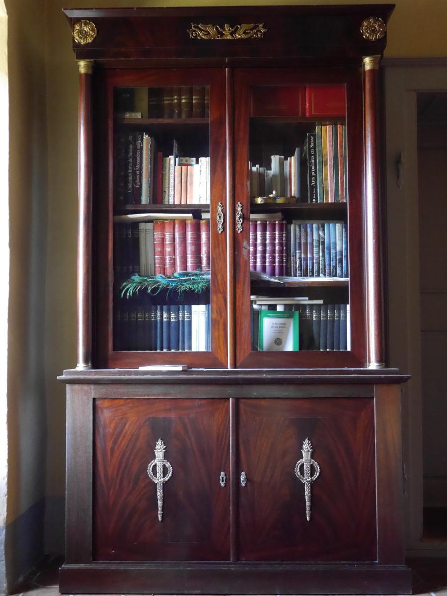 Bibliothèque En Acajou De Style Empire, XXe Siècle