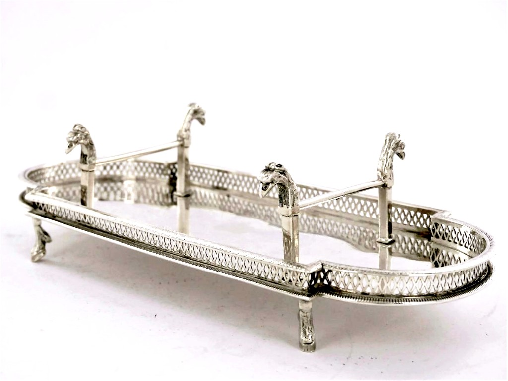 Silver Ink Tray / Feather Stand, Empire Period, Early 19th Century