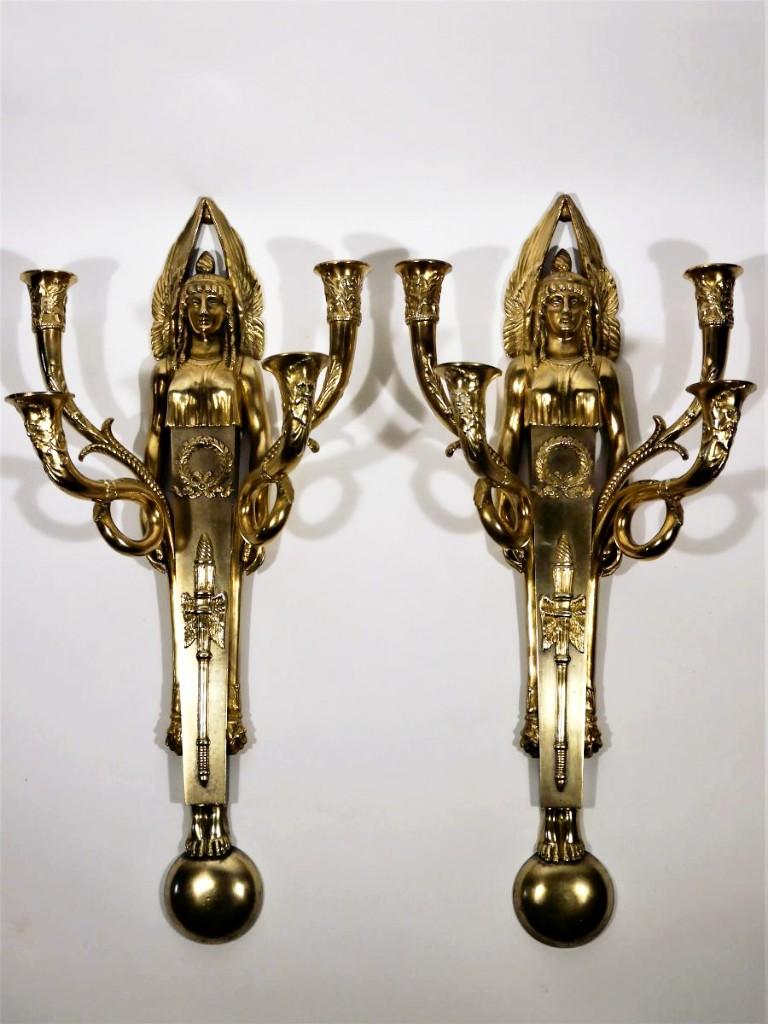 Paire d'Appliques En Bronze Par Claude Galle