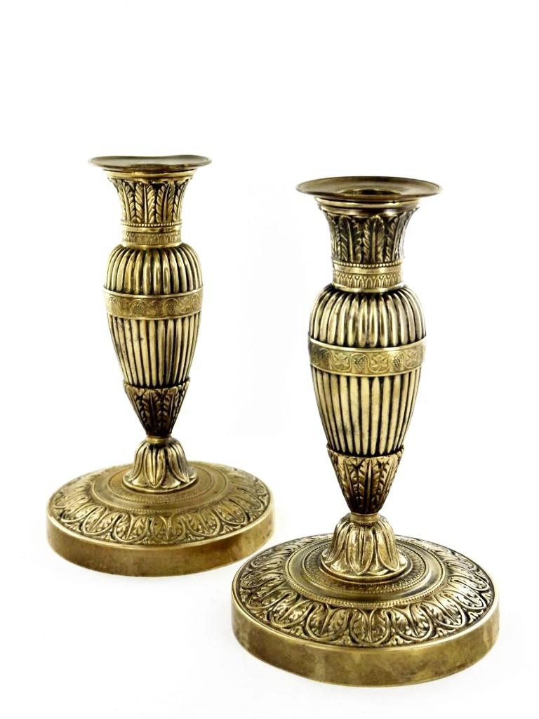 Paire De Flambeaux En Bronze Doré d'époque Empire, Début XIXe