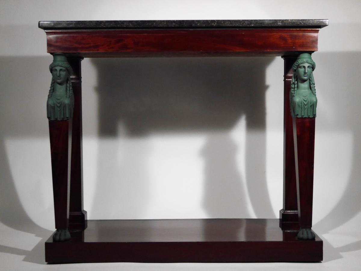 Console d'Appui En Acajou à Cariatides d'époque Consulat Par Biennais, Début XIXe