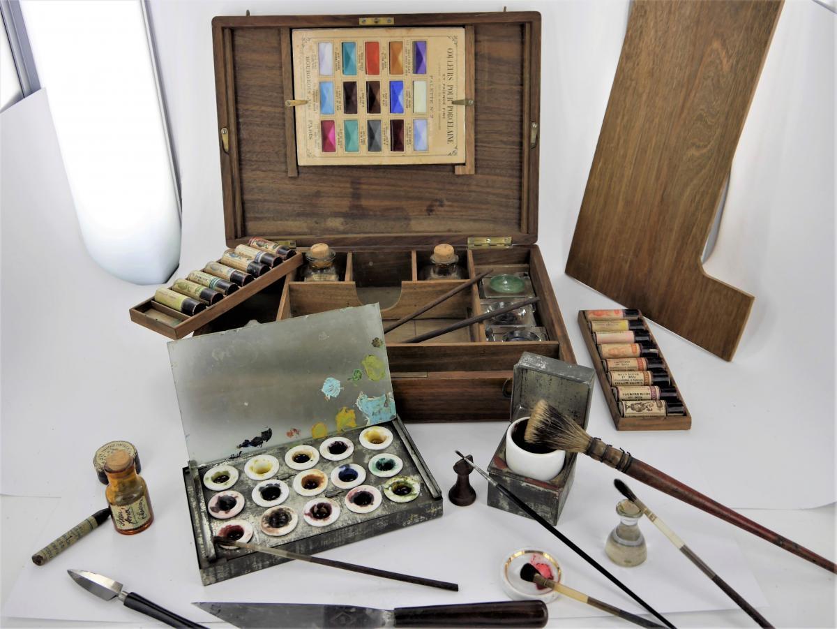 Nécessaire De Peintre En Acajou, Fin XIXe Siècle