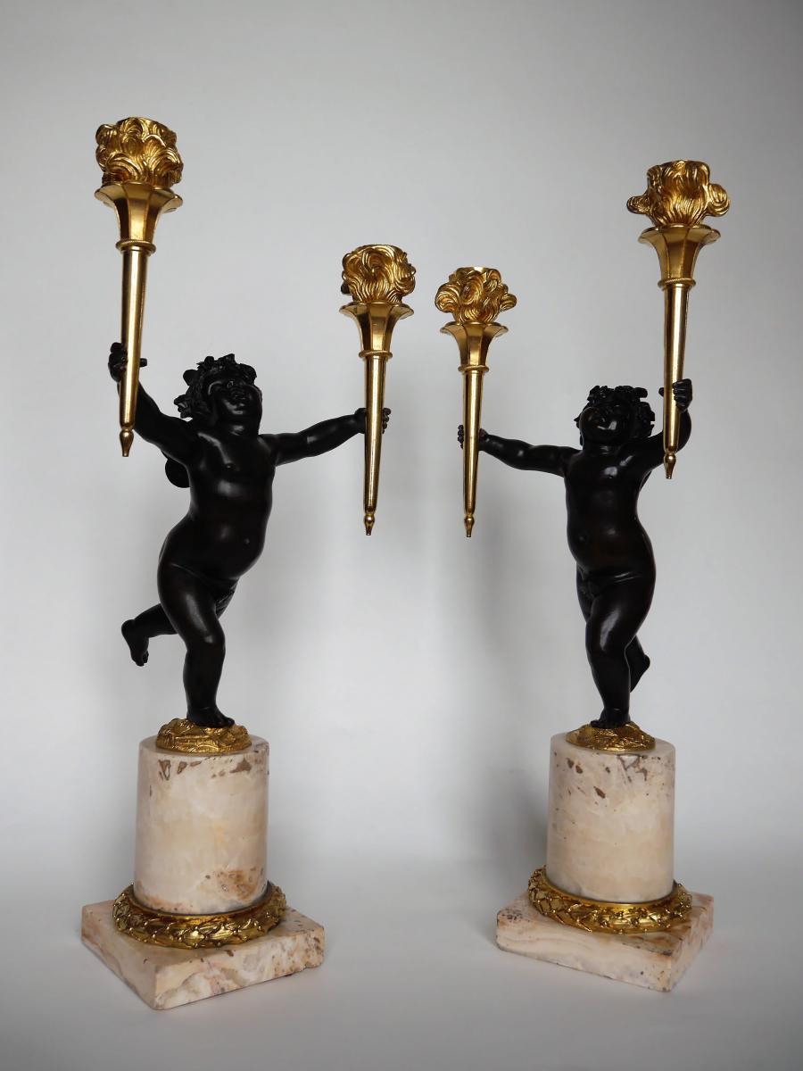 Paire De Candélabres Par Ravrio, d'époque Louis XVI, Fin XVIIIe