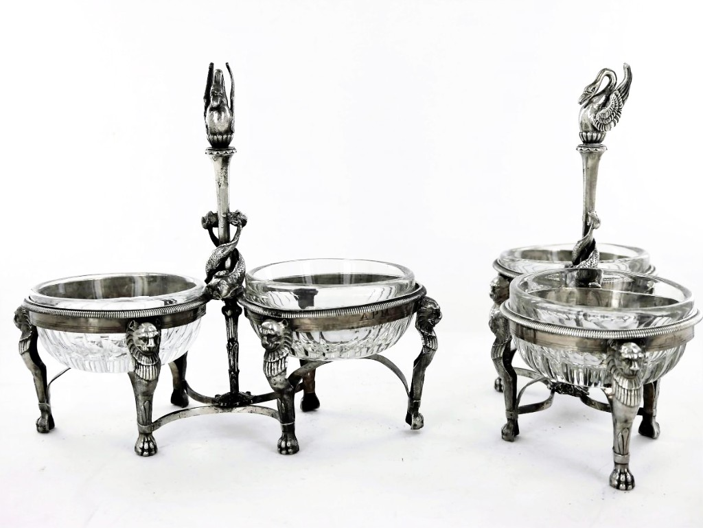 Pair Of Salt Cellars In Sterling Silver, Empire Period, Early 19th Century