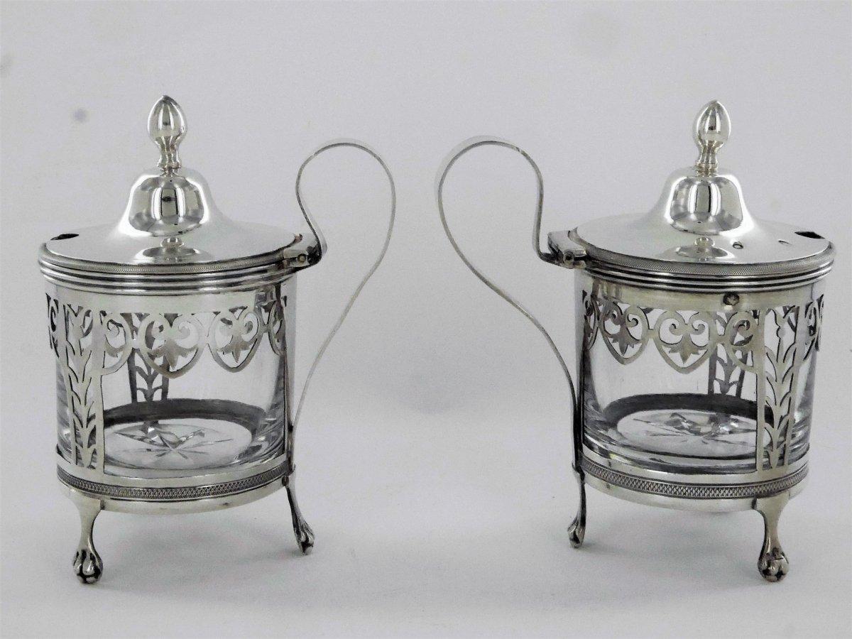 Pair Of Empire Mustard Pots, Early 19th Century-photo-3