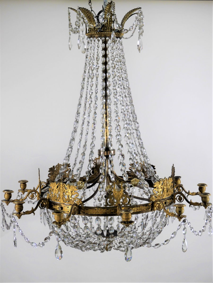 Grand Lustre Corbeille d'époque Empire