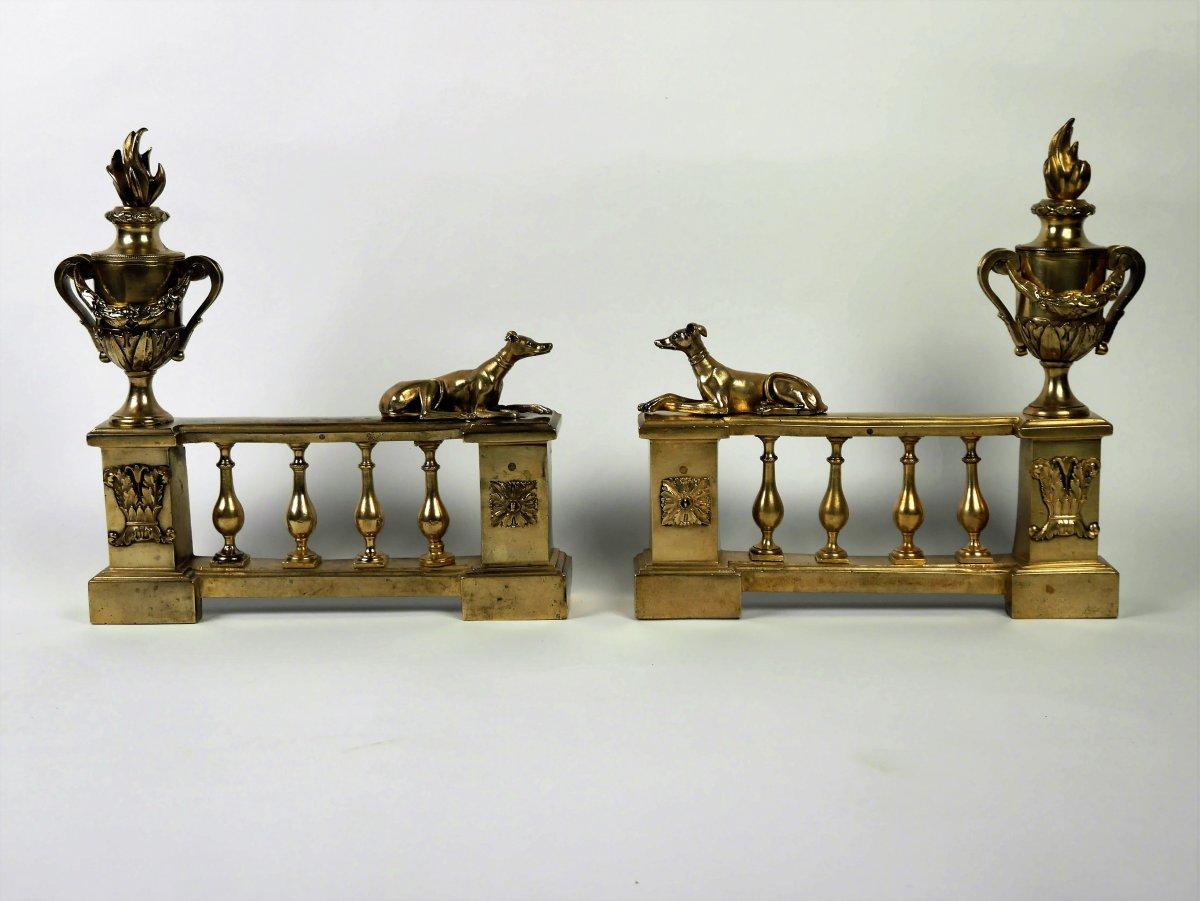 Paire De Chenets d'époque Louis XVI, XVIIIe