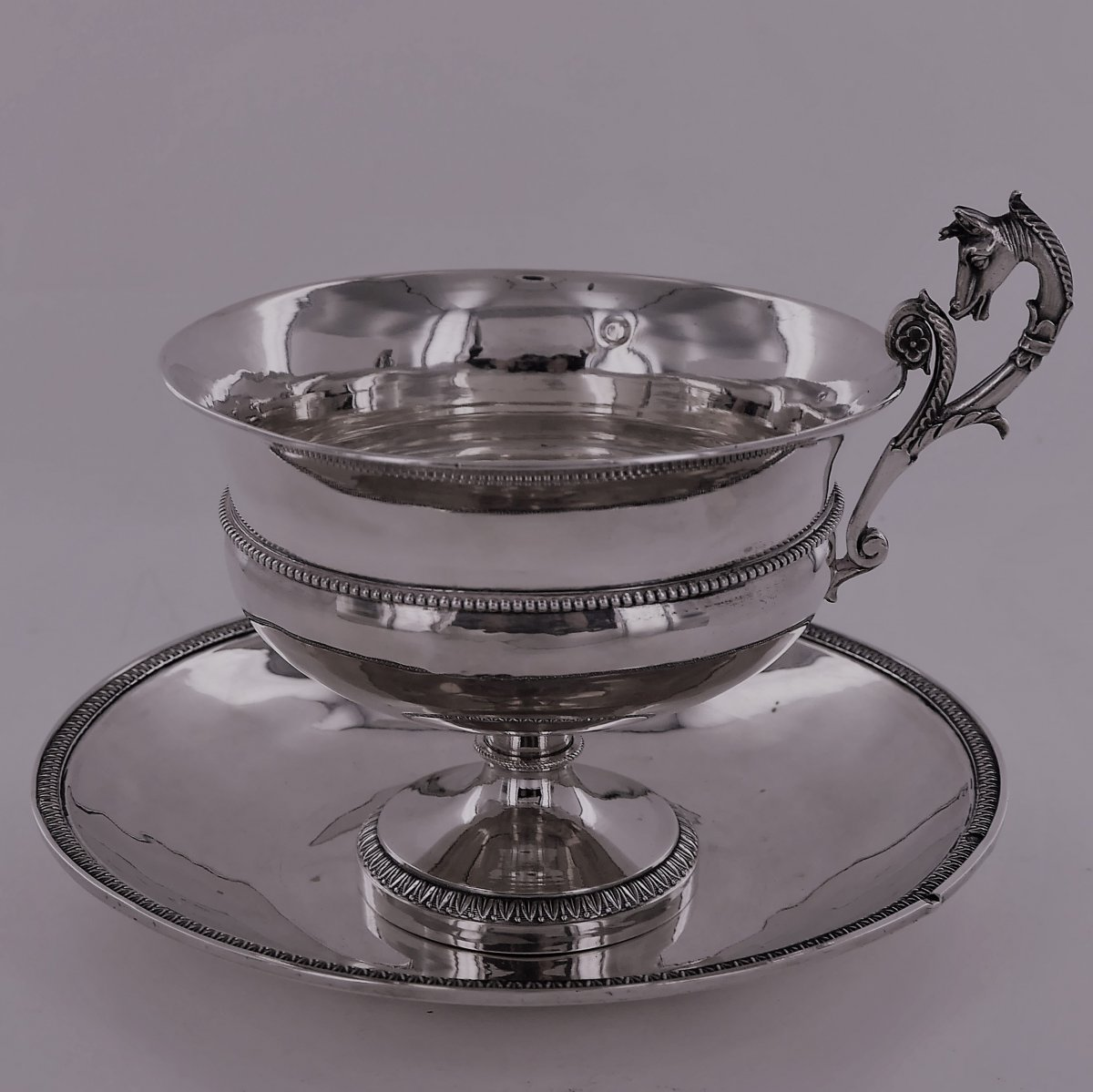 Chocolate Cup And Saucer, Sterling Silver, Empire Period, Early 19th Century