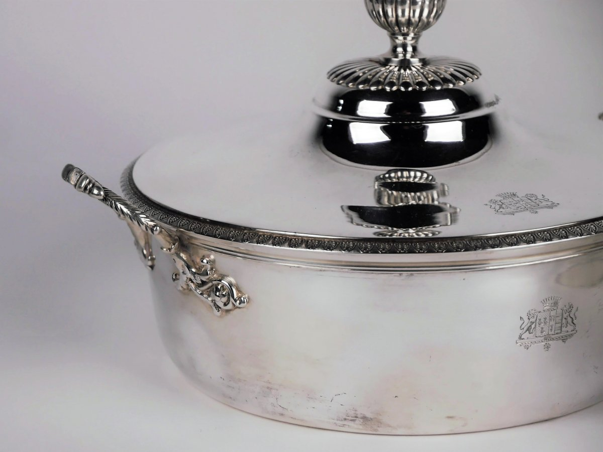 Pair Of Vegetable Dishes In Silver, Charles X Period, 19th Century