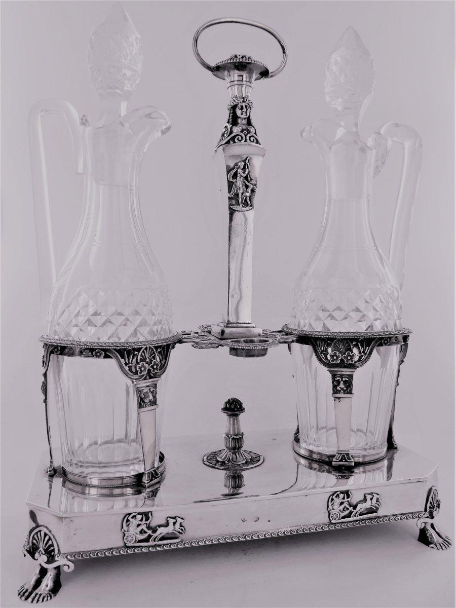 Huilier - Vinaigrier En Argent d'époque Empire, Début XIXe Siècle