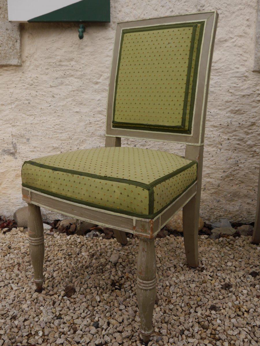 Suite De 4 Chaises Estampillées De Demay, Début XIXe Siècle-photo-2
