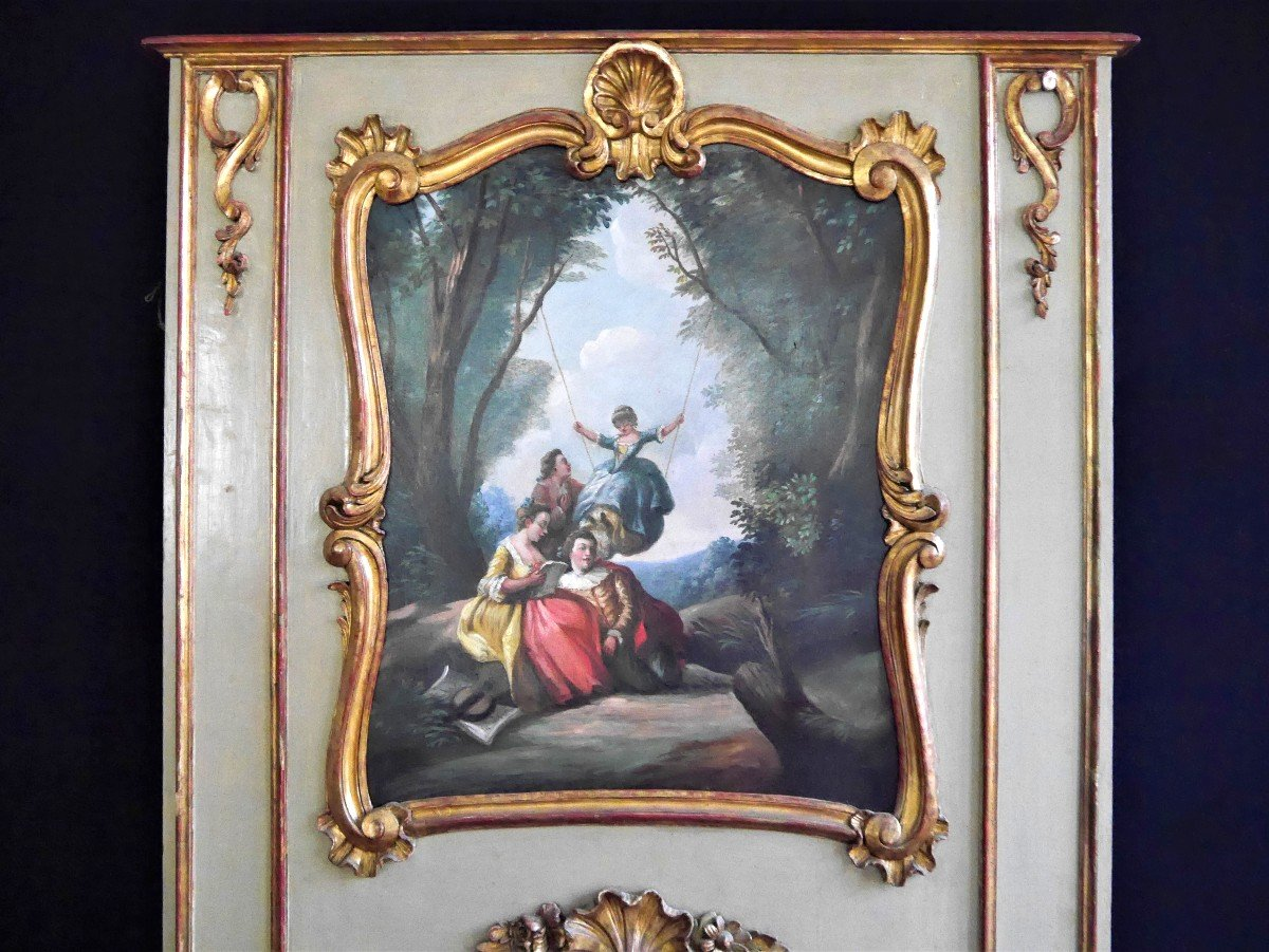 Trumeau d'époque Louis XV, XVIIIe Siècle-photo-3
