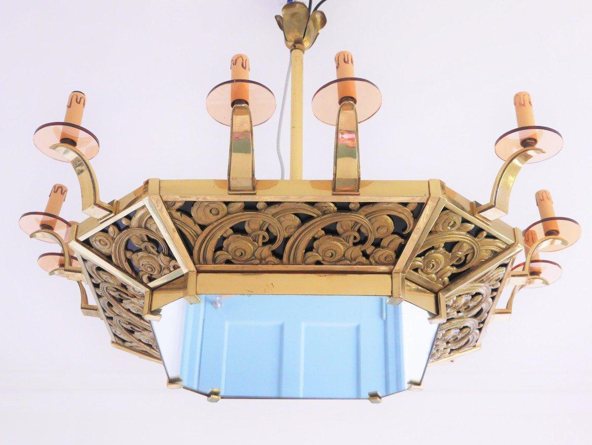 Lustre Art Déco à 12 Bras de Lumière, Vers 1920-photo-3