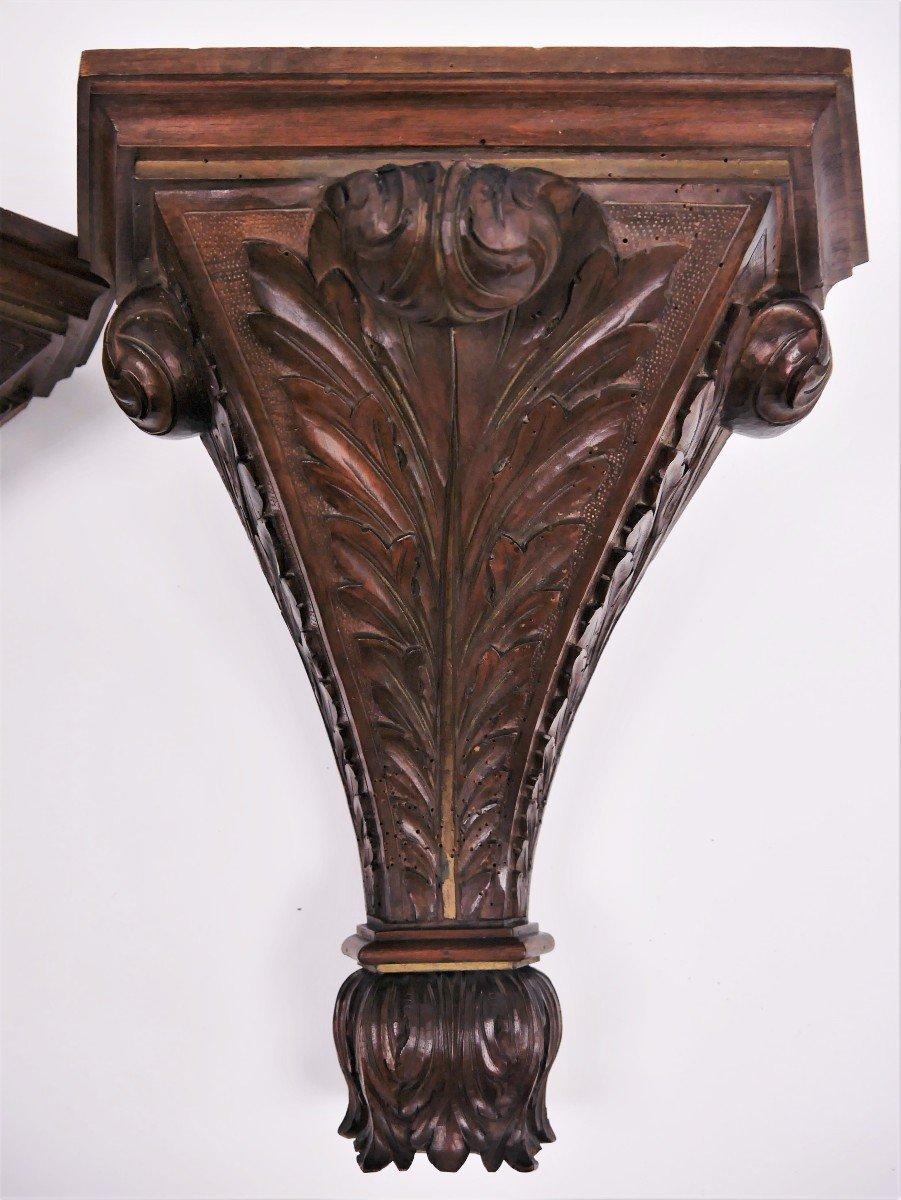 Paire De Consoles En Noyer Sculpté, XVIIIe, estampillées de Luthy-photo-4
