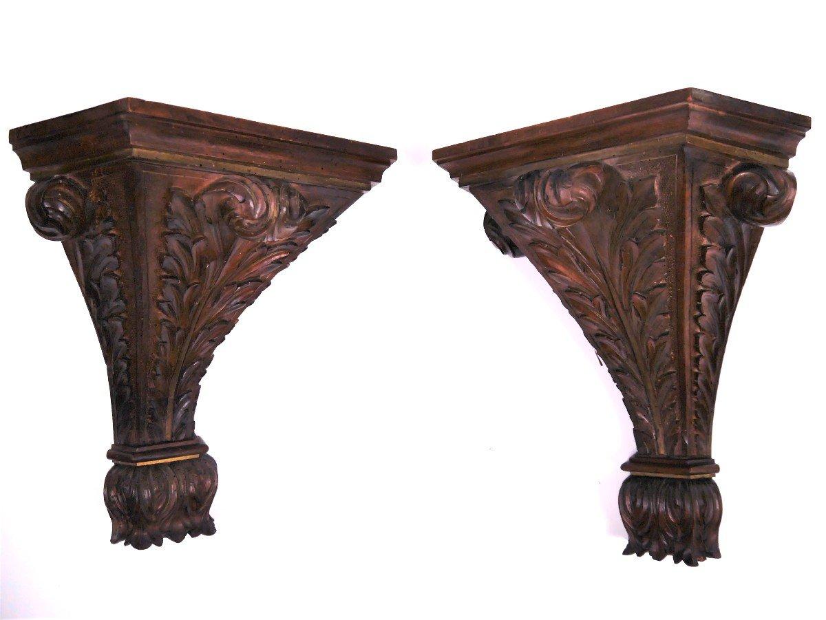 Paire De Consoles En Noyer Sculpté, XVIIIe, estampillées de Luthy