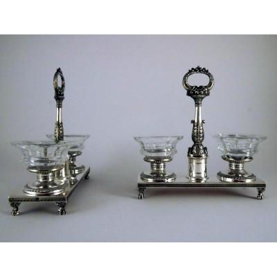 Pair Of Double Saltcellars In Silver, Restoration Period, 1819-1838