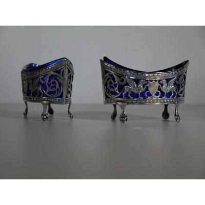 Pair Of Saltcellars Of The Empire Period, 19th Century