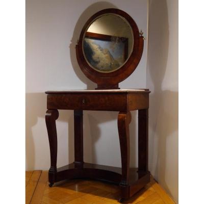 Dressing Table In Mahogany, Empire Style Of The 19th Century