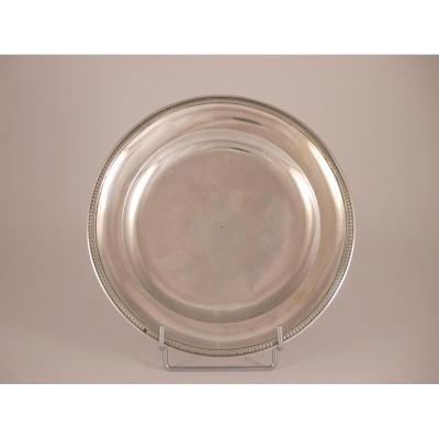 Round Plate In Silver, Restoration Period, 19th Century