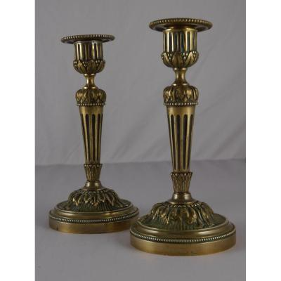 Pair Of Candlesticks In Gilt Bronze, Louis XVI Style, 19th Century
