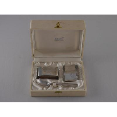Pair Of Napkin Rings Madame And Monsieur In The Original Case, Art Deco