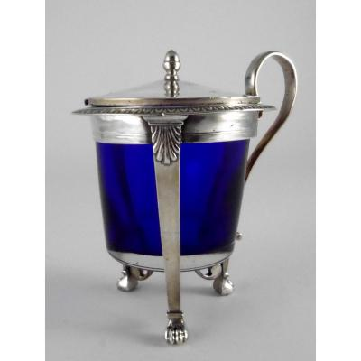 Mustard Pot In Silver By Jean-baptiste-claude Odiot, Empire Style, 19th Century