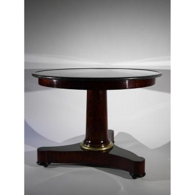 Grand Pedestal Table In Mahogany, Empire Period, 19th Century