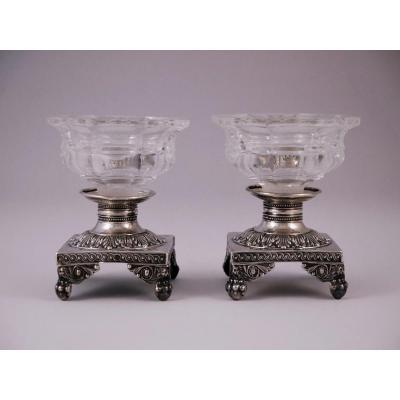 Pair Of Salt Cellars In Sterling Silver, Empire Style, 19th Century