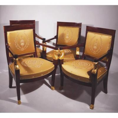Empire Set, 4 Armchairs And A Bench, Early 19th Century