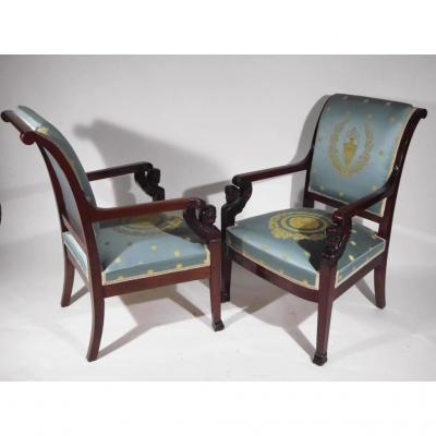 Pair Of Mahogany Armchairs, Empire Period, Beginning Of The 19th Century