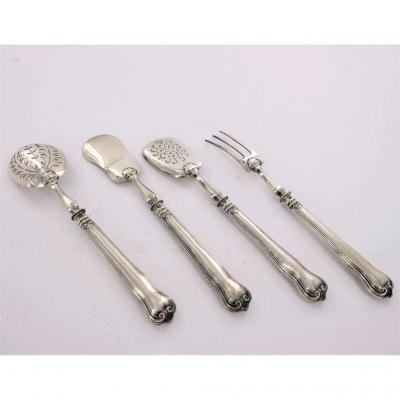 Service Or Cutlery For Mignardises Or Petits Fours, Silver, 19th Century