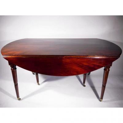 Table de salle à manger en acajou massif, Directoire, époque XVIIIe