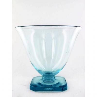 Vase Bleu En Cristal d'époque Art Déco, Signé Daum, XXe Siècle