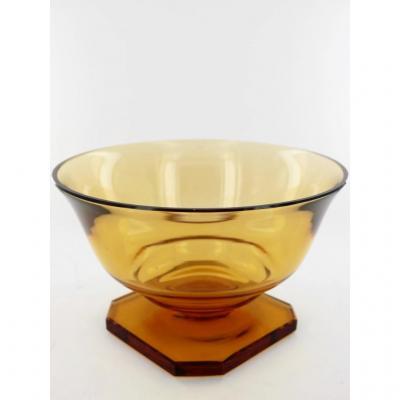 Vase Ambre En Cristal, Signé Daum, Vers 1920-1930