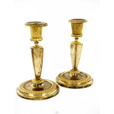 Paire De Bougeoirs En Bronze Doré d'époque Empire, Début XIXe