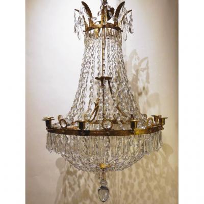 Grand Lustre Corbeille En Cristal De Style Empire, Début XIXe
