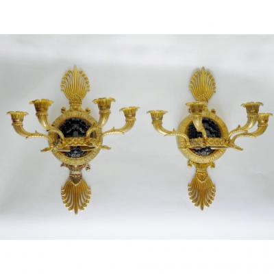 Paire d'Appliques d'époque Empire Par Claude Galle, Début XIXe