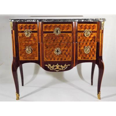 "Commode ""sauteuse"" Transition Estampillé De G. Jansen, époque Louis XV, XVIIIe"