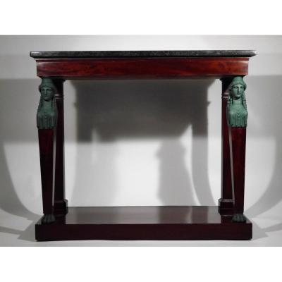 A Consulate Console In Mahogany Decorated With Caryatids By Biennais, Early Nineteenth