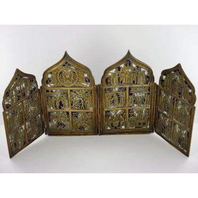 Quadriptyque 12 Grandes Fêtes Orthodoxes, Russie, XIXe