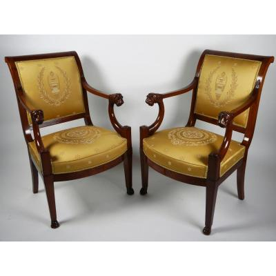 Pair Of Armchairs, Consulate Period, Early 19th Century