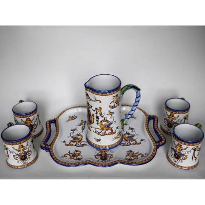Set Of 4 Cups, Water Pot And Tray, Gien, 1860-1871