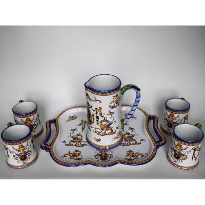 Ensemble De 4 Tasses, Pot à Eau Et Plateau, Gien, 1860-1871