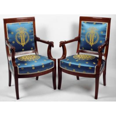 Pair Of Empire Period Armchairs By Jacob, Early 19th Century