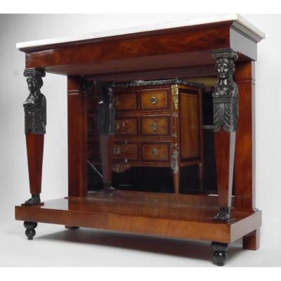 An Empire Console In Mahogany With Caryatids, Early 19th Century