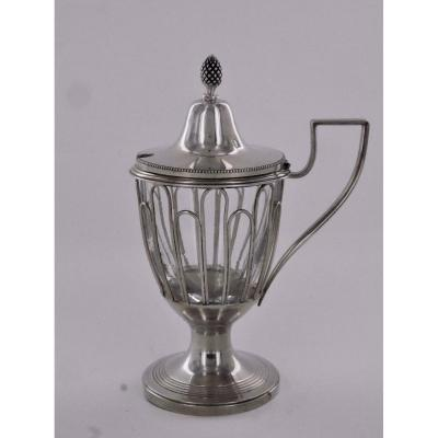 Mustard Pot In Sterling Silver, Early 19th Century