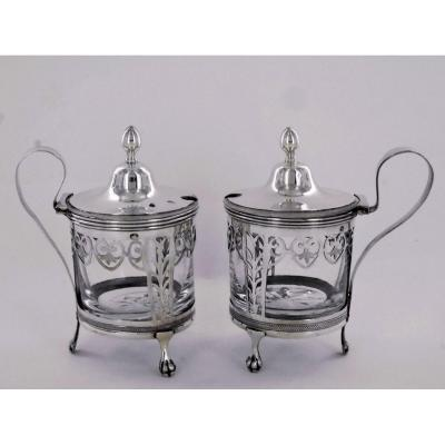 Pair Of Empire Mustard Pots, Early 19th Century