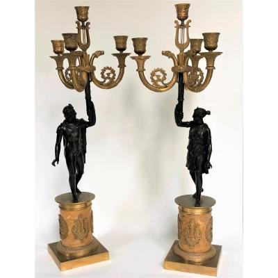 Pair Of Empire Candelabra, Early 19th Century