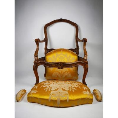 Fauteuil à La Reine à Chassis, Estamplillé Tilliard, époque Louis XV, XVIIIe
